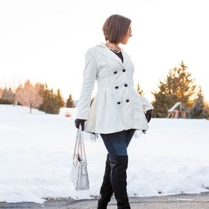 Jackets & Blazers - White Long Sleeve Wool-Blend Coat